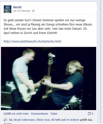 Facebook-News: 1. Hecht-Konzert
